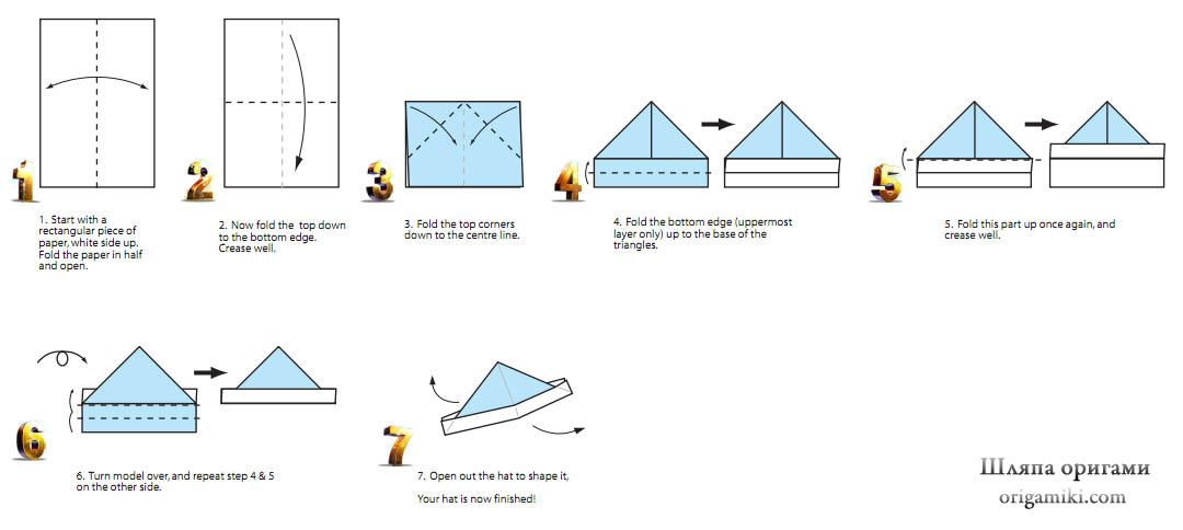 Как сделать из бумаги панаму схема