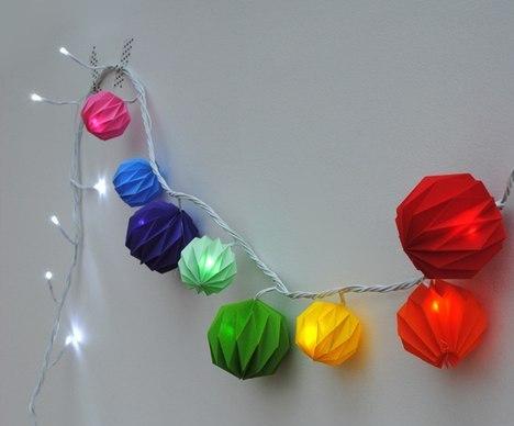 Новогодняя гирлянда из бумажных фонариков