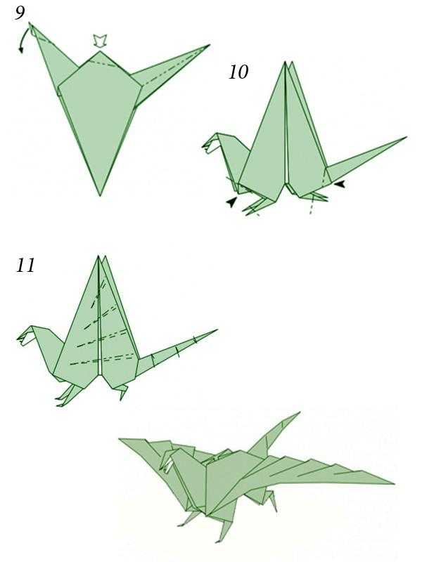Динозавр из бумаги своими руками