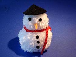Снеговик со шляпкой из гофры