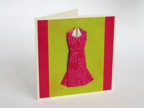 Украшения для открыток — оригами платье