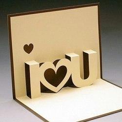 Как сделать объемную открытку I love you