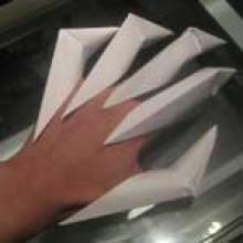 Оригами когти из бумаги