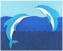 Детская аппликация из картона и цветной бумаги Дельфины