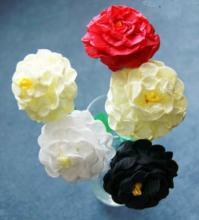 Схемы цветов из гофрированной бумаги. Георгины.