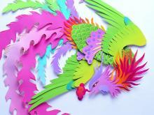 аппликация из цветной бумаги жар птица