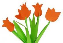 """Аппликация """"Тюльпаны"""" из бумаги своими руками"""